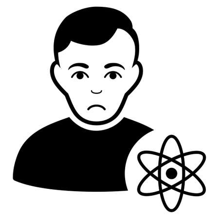 Sadly Atomic Scientist vector pictograph. Style is flat graphic black symbol with sorrow feeling. Illustration
