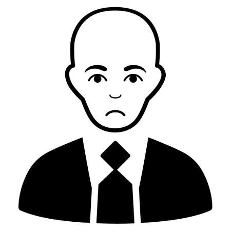 Sad Bald Boss vector pictograph. Style is flat graphic black symbol with mourning emotion.