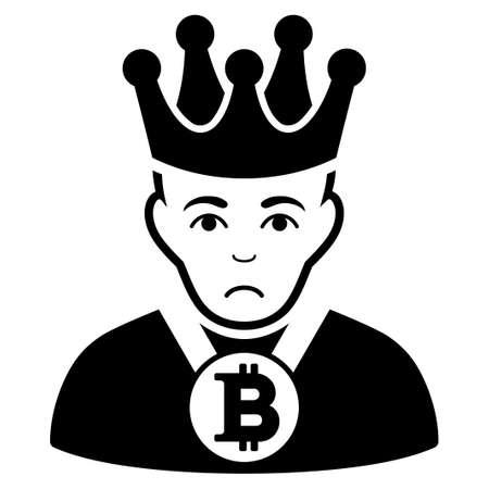 Sad Bitcoin King vector icon. Style is flat graphic black symbol with sad mood.
