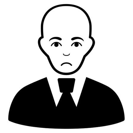 Unhappy Bald Clerk vector icon. Style is flat graphic black symbol with depressed emotion.