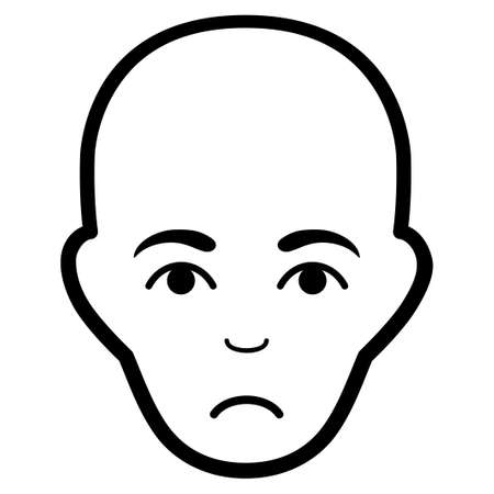 Sad Bald Head vector pictogram. Style is flat graphic black symbol with stress mood.