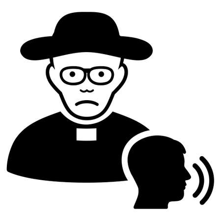 Dolor Believer Confession vector pictogram. Style is flat graphic black symbol with sad expression.
