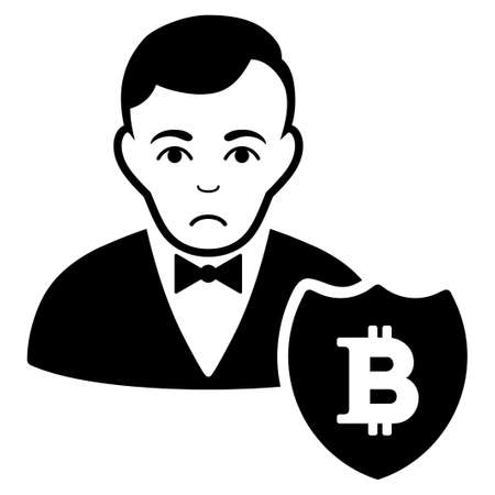 Dolor Bitcoin Protector vector pictograph. Style is flat graphic black symbol with problem expression. Ilustrace