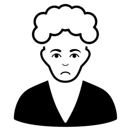 Unhappy Blonde Boy vector icon. Style is flat graphic black symbol with sadness sentiment.