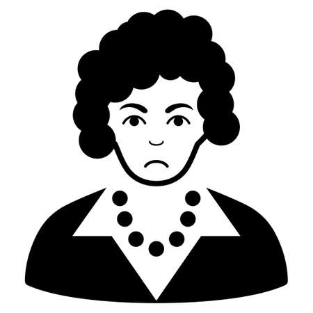 Sad Brunette Lady vector icon. Style is flat graphic black symbol with problem expression.