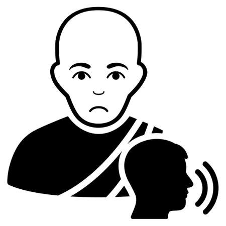 Pitiful Buddhist Confession vector pictograph. Style is flat graphic black symbol with affliction mood. Illustration