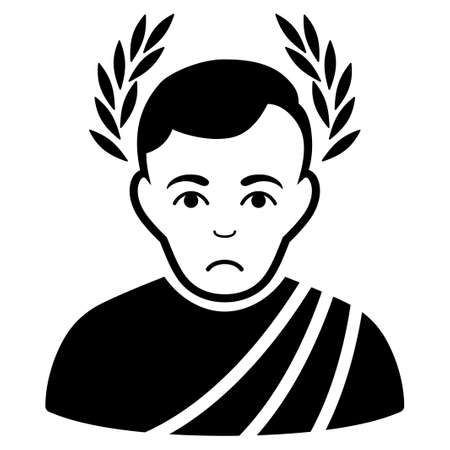 Unhappy Caesar Wreath vector pictogram. Style is flat graphic black symbol with sad sentiment. Illustration