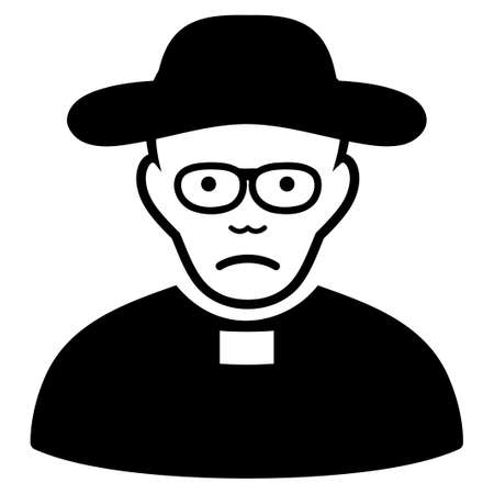 Sadly Church Priest vector icon. Style is flat graphic black symbol with sadness emotion.