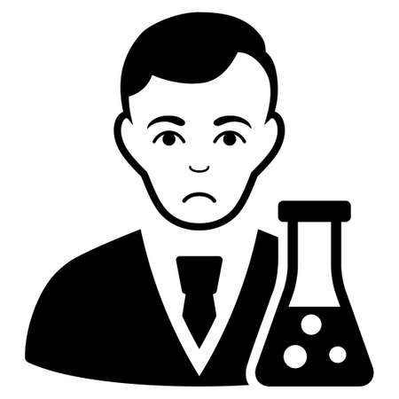 Sad Chemical Scientist vector icon. Style is flat graphic black symbol with dolour expression.