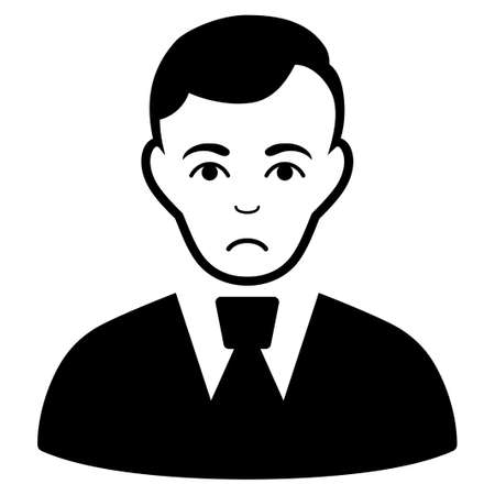 Unhappy Clerk Guy vector icon. Style is flat graphic black symbol with sad emotion.