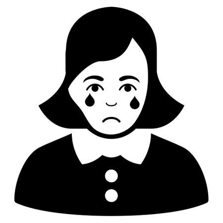 Sadly Crying Woman vector pictograph. Style is flat graphic black symbol with grief expression.