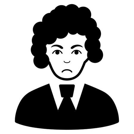 Pitiful Clerk Woman vector icon. Style is flat graphic black symbol with depression mood.