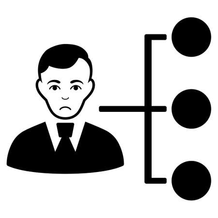 Sadly Distribution Manager vector pictograph. Style is flat graphic black symbol with depression mood.