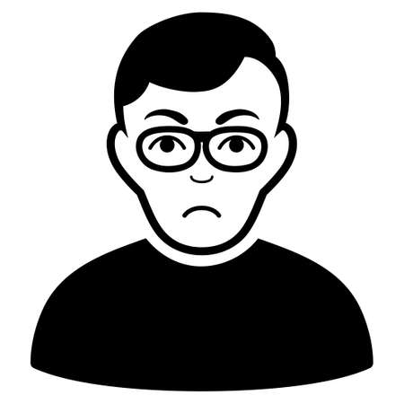 Unhappy Downer vector pictograph. Style is flat graphic black symbol with dolor mood.