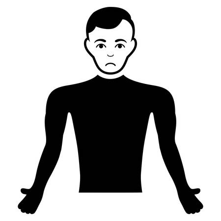 Pitiful Guy Body vector pictograph. Style is flat graphic black symbol with sadness emotions. Illustration