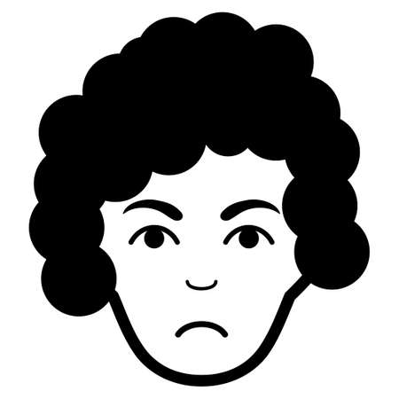 Sad Hairstyle Head vector pictograph. Style is flat graphic black symbol with stress expression.