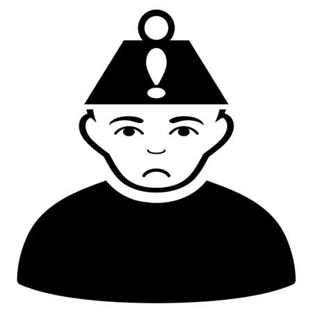 Pitiful Head Stress vector pictogram. Style is flat graphic black symbol with affliction mood.