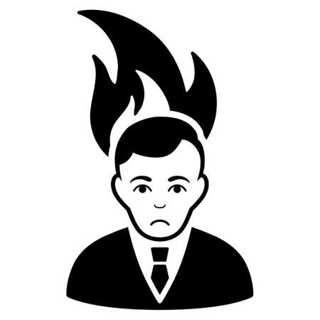 Pitiful fired manager vector pictograph. Style is flat graphic black symbol with dolor sentiment.