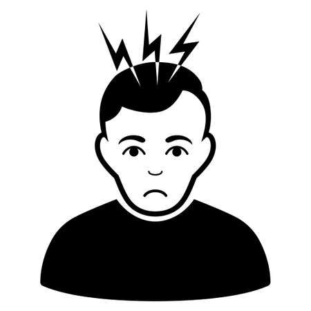 Pitiful Headache vector pictograph. Style is flat graphic black symbol with sadly emotions.