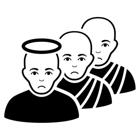 Sadly Holy Men vector pictograph. Style is flat graphic black symbol with stress emotions. Ilustrace