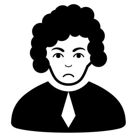 Sad Judge vector pictograph. Style is flat graphic black symbol with problem expression. Ilustrace