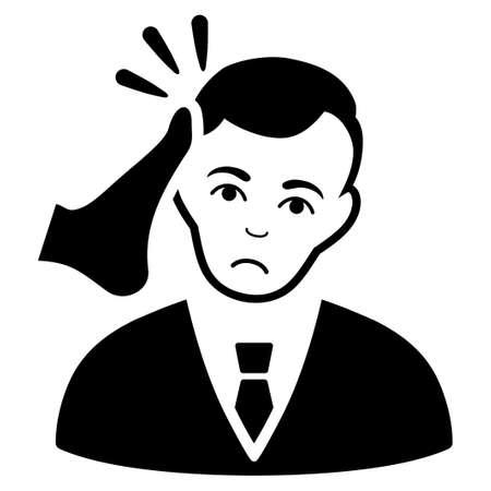 Pictogramme de vecteur Dolor Kickboxer victime. Le style est un symbole noir graphique avec un sentiment d'affliction.