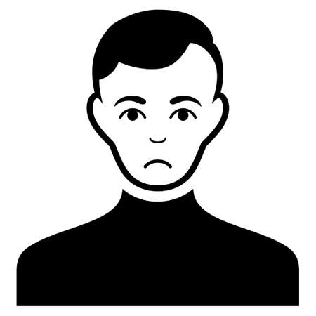Sad Male vector pictogram. Style is flat graphic black symbol with grief feeling.