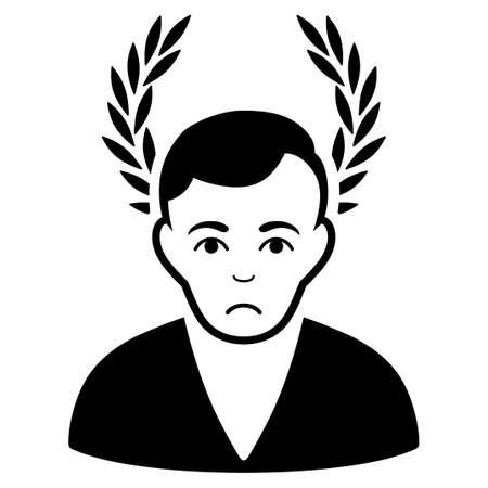 Pitiful Man Glory vector icon. Style is flat graphic black symbol with sad feeling. Illustration