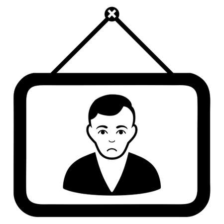 Unhappy Man Portrait vector icon. Style is flat graphic black symbol with dolor emotions.