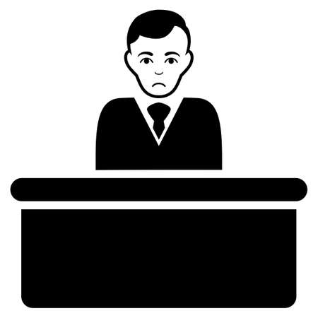 Sad Office Clerk vector pictogram. Style is flat graphic black symbol with depressed feeling.