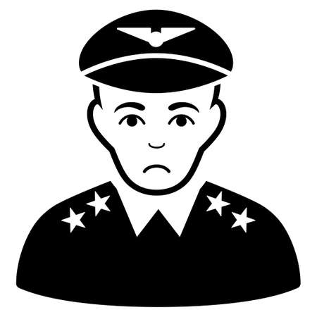Dolor Military Pilot Officer vector icon. Style is flat graphic black symbol with mourning feeling.