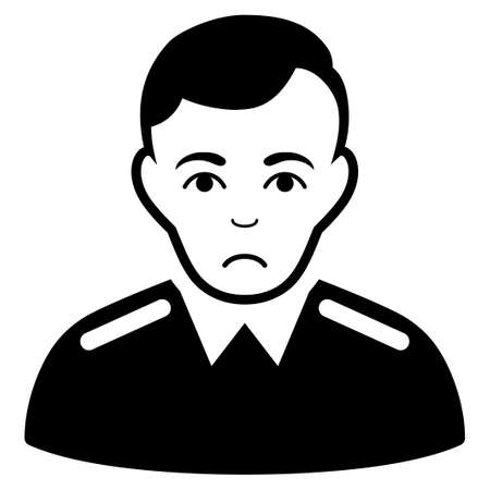 Dolor Officer vector icon. Style is flat graphic black symbol with mourning mood. Illustration