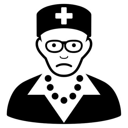 Sad Old Nurse vector icon. Style is flat graphic black symbol with problem feeling. Ilustrace