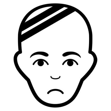 Pitiful Patient Head vector icon. Style is flat graphic black symbol with stress feeling. Illustration