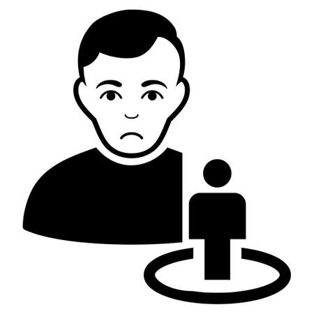 Unhappy Portal Moderator vector icon. Style is flat graphic black symbol with depression emotion. Illustration