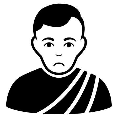 Unhappy Patrician Citizen vector pictogram. Style is flat graphic black symbol with depression expression.