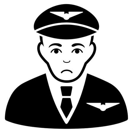 Pitiful Pilot vector icon. Style is flat graphic black symbol with sad sentiment.