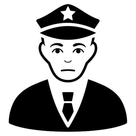 Dolor Policeman vector pictogram. Style is flat graphic black symbol with mourning emotions. Illustration