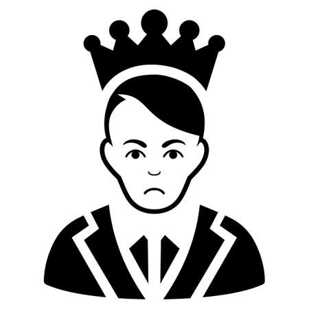 Dolor Prince vector pictograph. Style is flat graphic black symbol with sad expression. Illustration