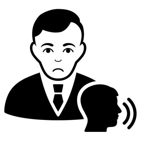 Sad Psychotherapist Visit vector icon. Style is flat graphic black symbol with sadness feeling.