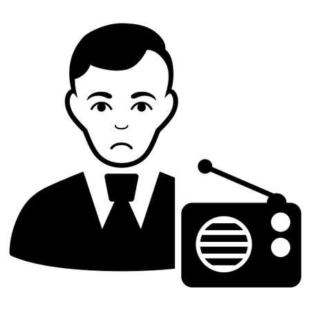 Sad Radio Dictor vector pictograph. Style is flat graphic black symbol with stress expression. Ilustrace