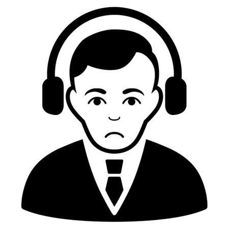 Sadly Radio Manager vector pictogram. Style is flat graphic black symbol with sadness mood. Illustration