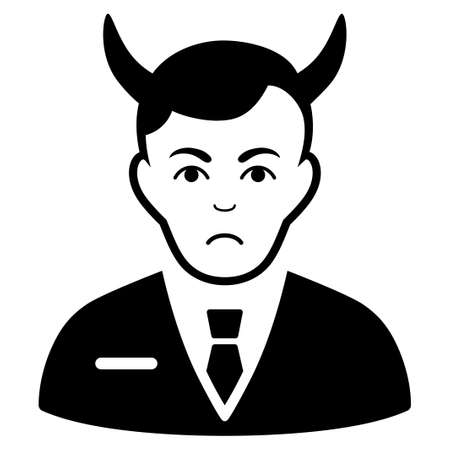 Dolor Satan vector pictogram. Style is flat graphic black symbol with dolor mood.