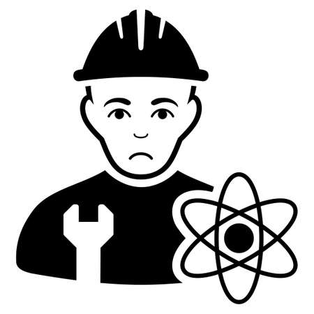 Sad scientist engineer vector icon. Style is flat graphic black symbol with affliction expression. Illustration