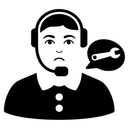 Sad Service Center Lady vector pictogram. Style is flat graphic black symbol with unhappy feeling.