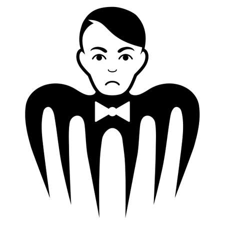 Sad Spectre Man vector pictograph. Style is flat graphic black symbol with dolor expression. Ilustração