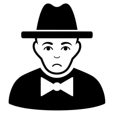 Pitiful Spy vector icon. Style is flat graphic black symbol with stress emotions.