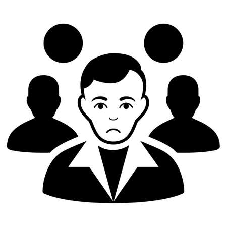 Unhappy Staff Leader vector pictogram. Style is flat graphic black symbol with grief feeling.