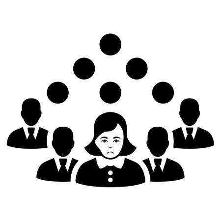 Dolor Staff Team vector icon. Style is flat graphic black symbol with sadly mood. Ilustração