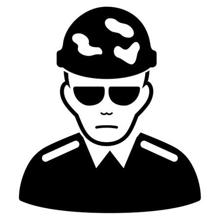 Sad Swat Soldier vector pictograph. Style is flat graphic black symbol with problem mood.